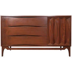Unique Six-Drawer Dresser with Sculpted Front