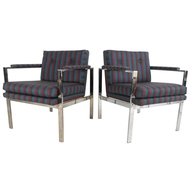 Pair of Mid-Century Modern Armchairs in the Style of Milo Baughman