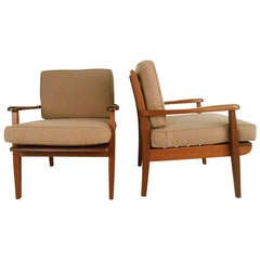 Pair of Mid-Century Studio Chairs, signed