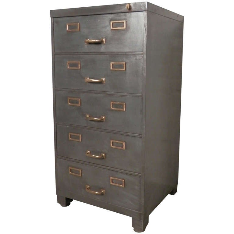 Primitive furniture - Striking Industrial File Cabinet At 1stdibs