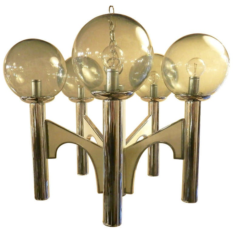 Vintage Modern Chandelier w/ Smoked Glass For Sale