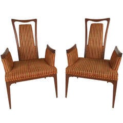 Pair of Vintage Modern High Back Armchairs