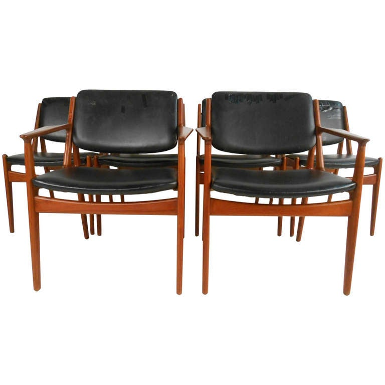 Set of six tilt back arne vodder mid century modern dining for Modern dining room chairs for sale