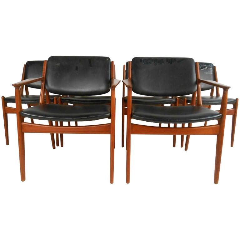 Mid century modern teak dining set - Set Of Six Tilt Back Arne Vodder Mid Century Modern Dining