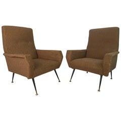 Pair of Mid-Century Modern Gio Ponti Style Armchairs