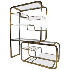 Unique Mid-Century Modern Milo Baughman for DIA Brass & Glass Etagere