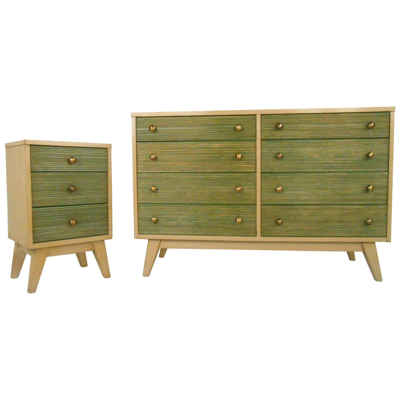 Matching mid century dresser and nightstand at 1stdibs for Contemporary dressers and nightstands