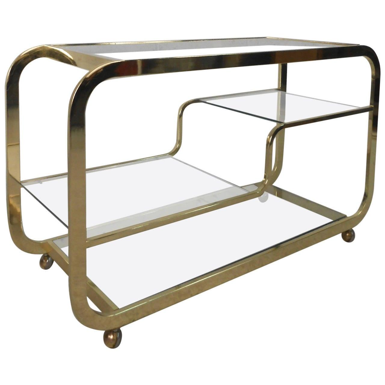 Mid Century Modern Milo Baughman Brass And Glass Bar Cart