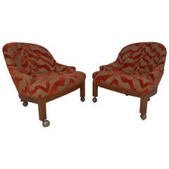 Pair of Midcentury Rolling Club Chairs