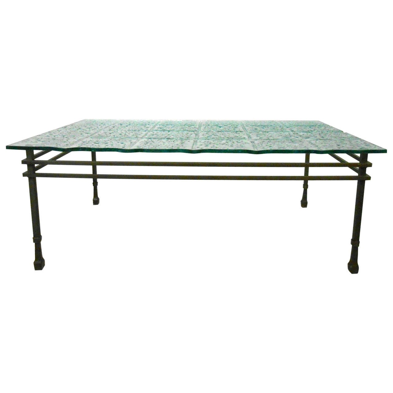 Style Textured Bubbled Glass And Iron Coffee Table For Sale At 1stdibs