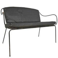 Mid-Century Modern Iron & Vinyl Salterini Style Bench