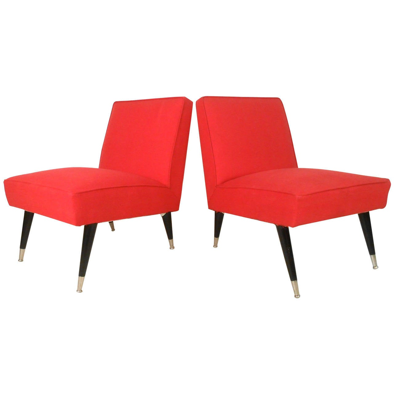 Pair Mid Century Modern Italian Style Slipper Chairs For Sale at