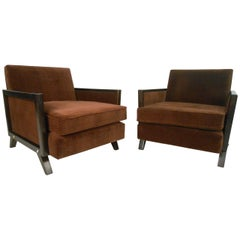Pair of Mid-Century Modern Upholstered Lounge Chairs