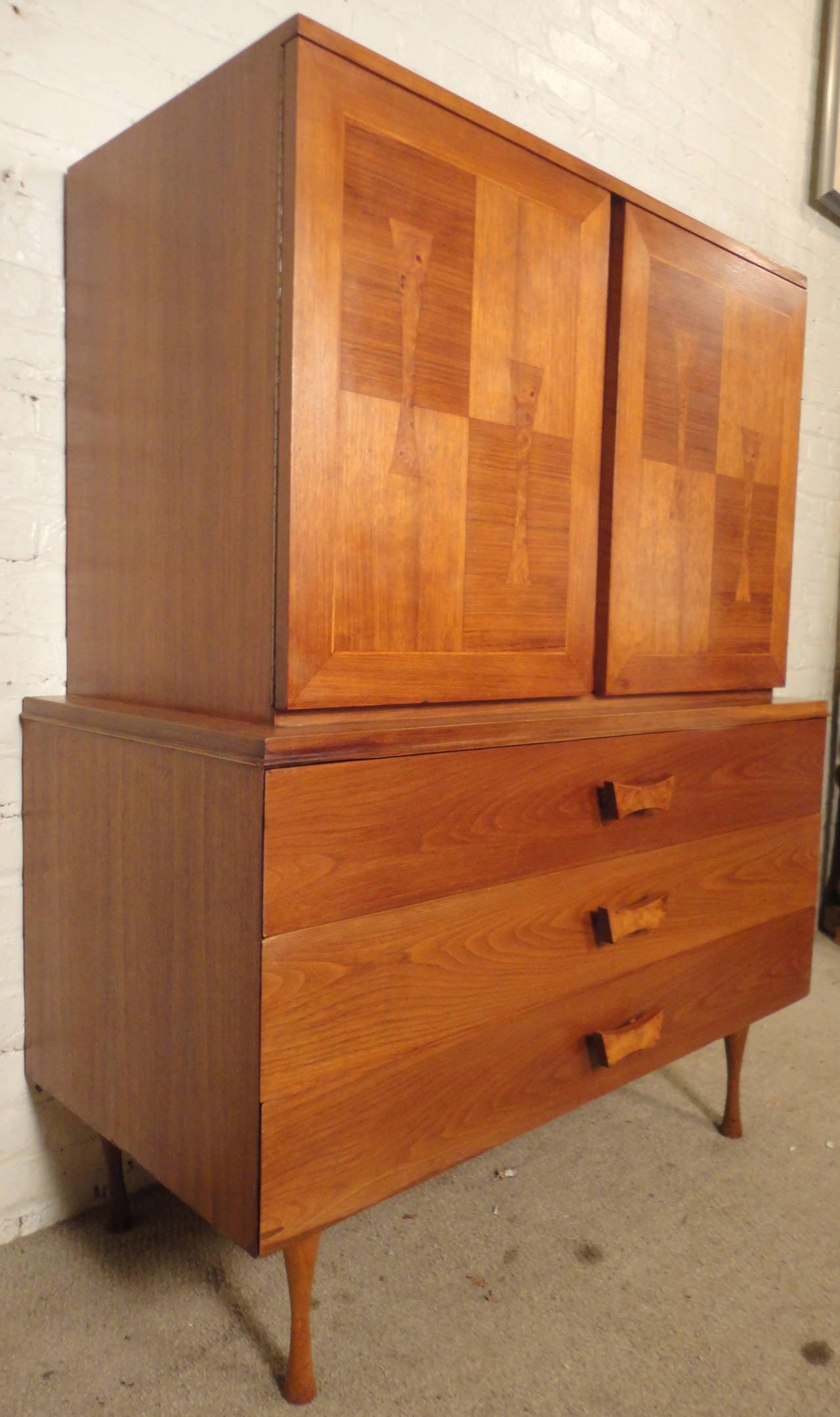Beautiful Mid Century Walnut Dresser With Burl Wood Inlay