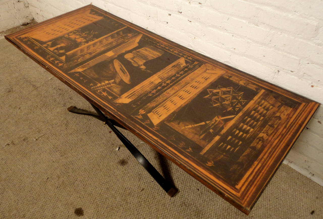 Mid Century Modern Coffee Table With Beautiful Laminate Drawing For Sale At 1stdibs