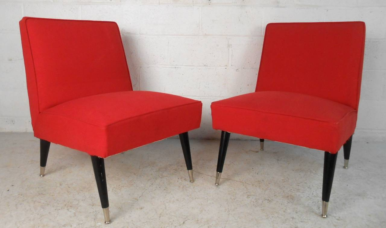 Mid Century Modern Vintage Slipper Chairs For