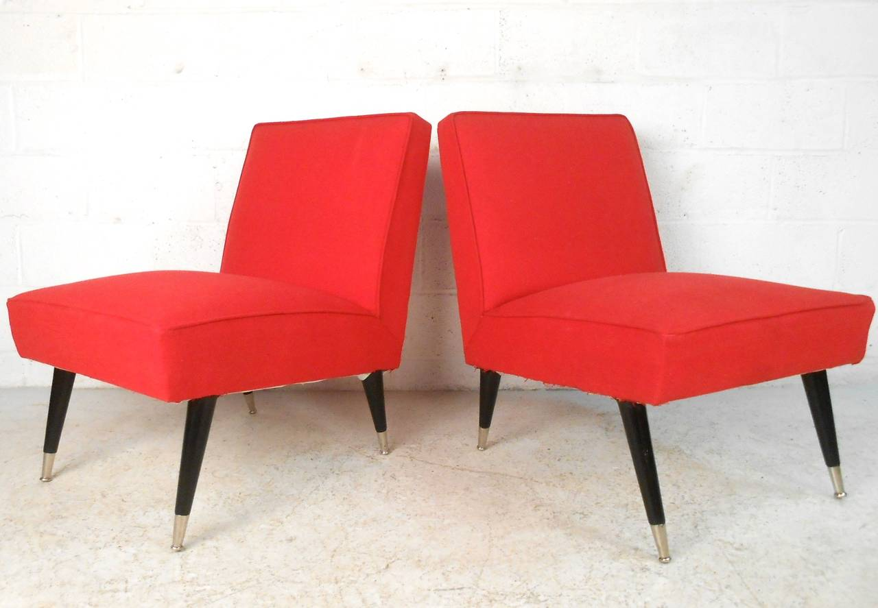 pair midcentury modern italian style slipper chairs for sale at  - pair midcentury modern italian style slipper chairs