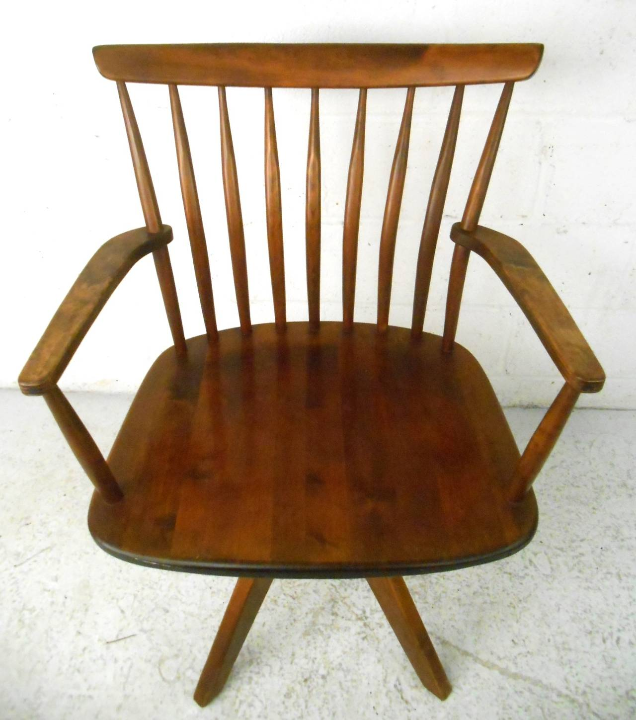 Unique Mid Century Modern Teak Spoke Back Swivel Desk Chair At 1stdibs
