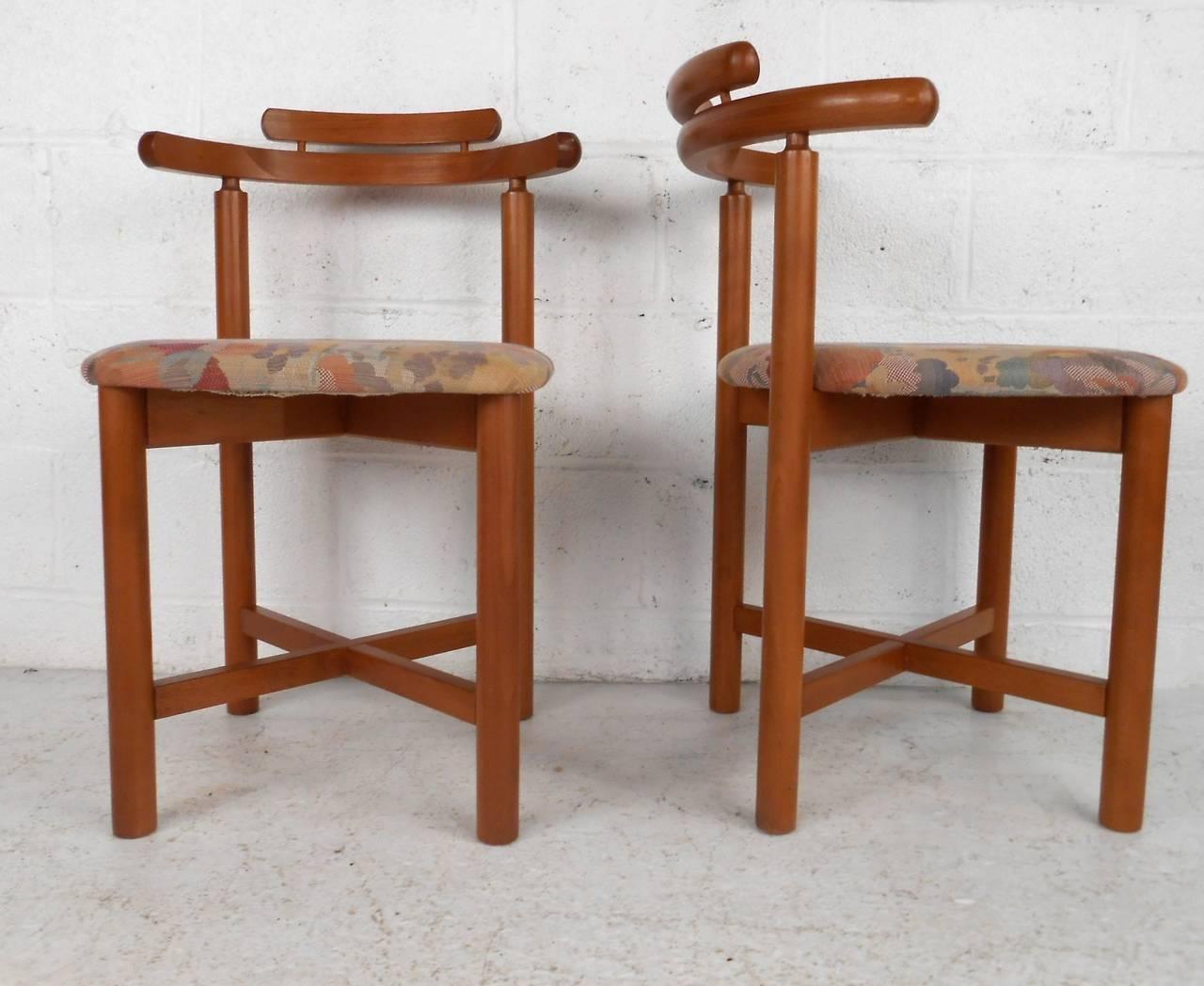 Set of mid century modern style danish teak dining chairs for Danish modern dining chairs