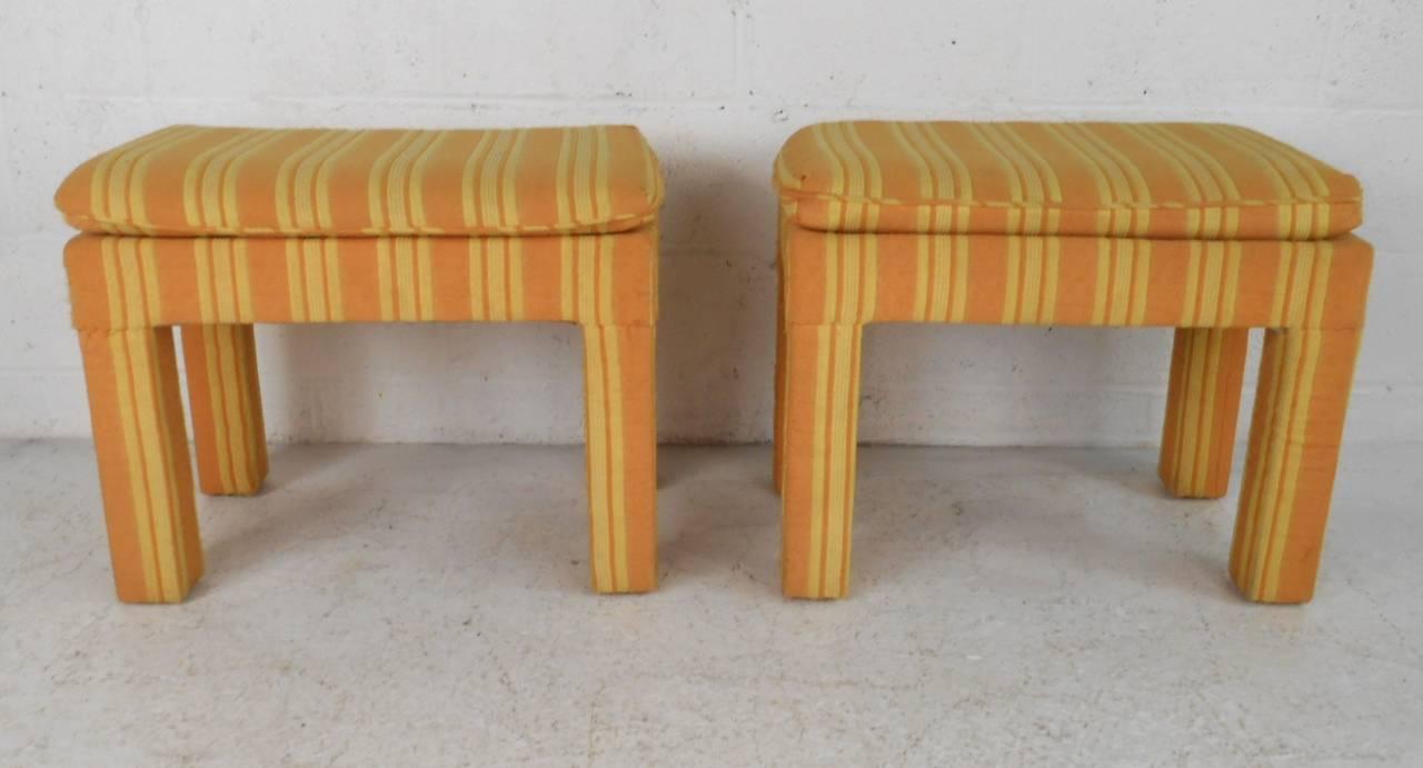 Pair Mid Century Modern Milo Baughman Parsons Style Stools