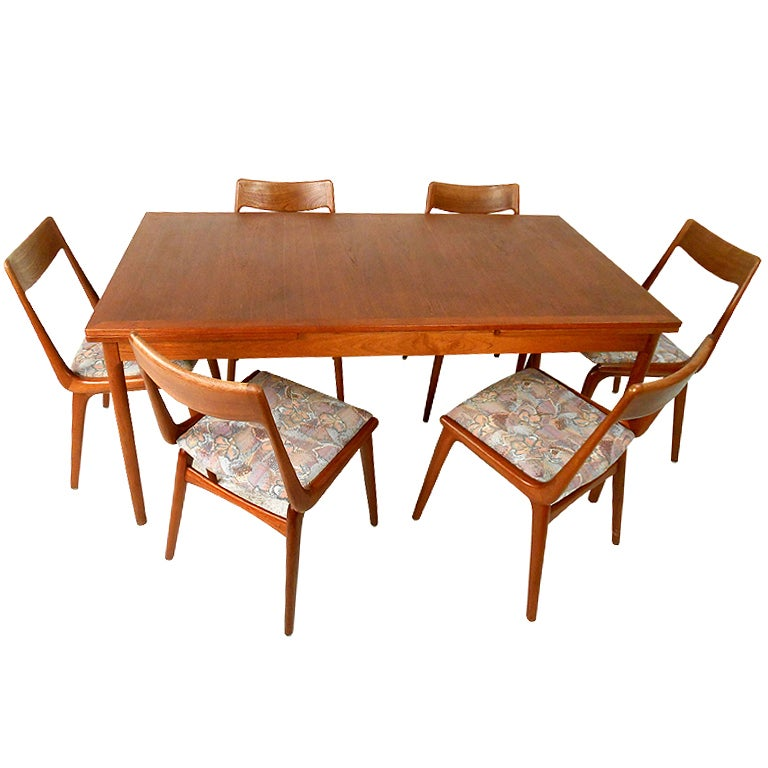 Mid century danish modern teak dining room table with for Modern dining room chairs for sale