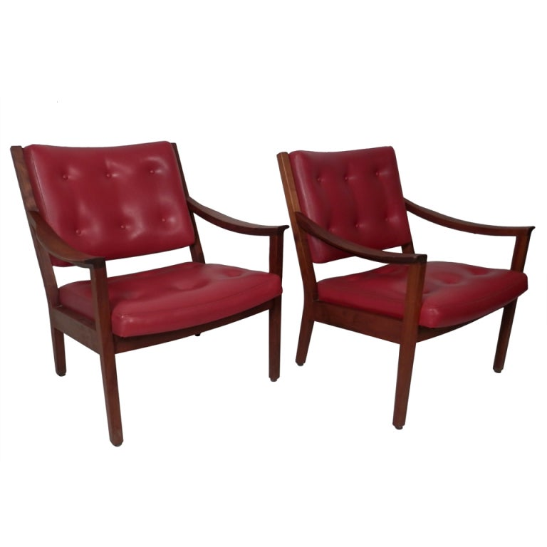 Pair Tufted Arm Chairs By W H Gunlocke at 1stdibs