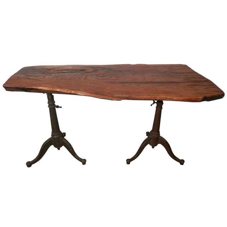 Amazing Live Edge Desk With Iron Drafting Bases At 1stdibs