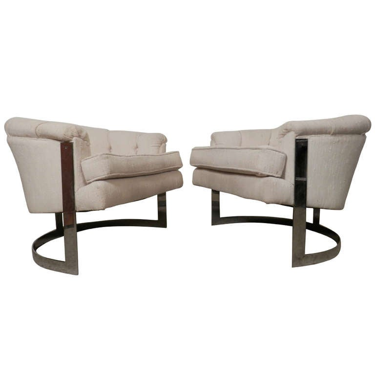 Milo Baughman Mid-Century Modern Barrel Back Chairs