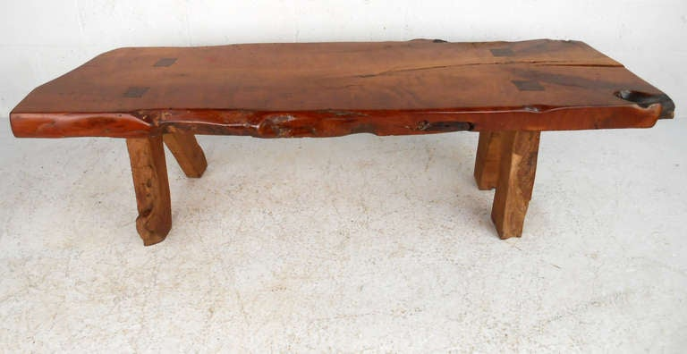 Rustic wood slab coffee table for sale at 1stdibs for Wood slab coffee table