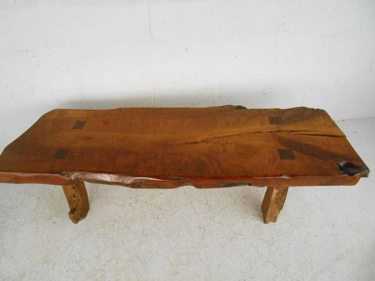 Rustic wood slab coffee table for sale at 1stdibs for Lovable wood slab coffee table