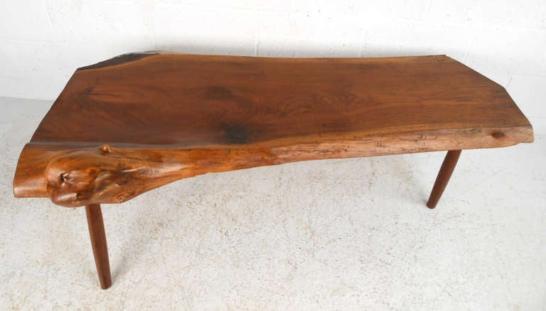 unique vintage wood slab coffee table for sale at 1stdibs. Black Bedroom Furniture Sets. Home Design Ideas