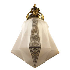 Beautiful Mid-Century Milk Glass Hanging Pendant
