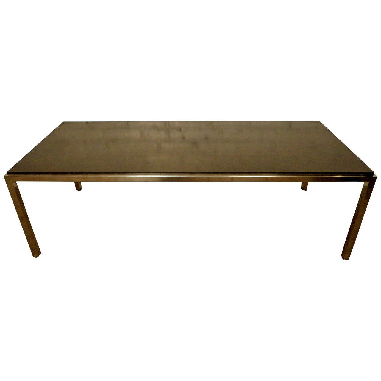 Sleek Mid Century Chrome And Black Top Coffee Table By Directional