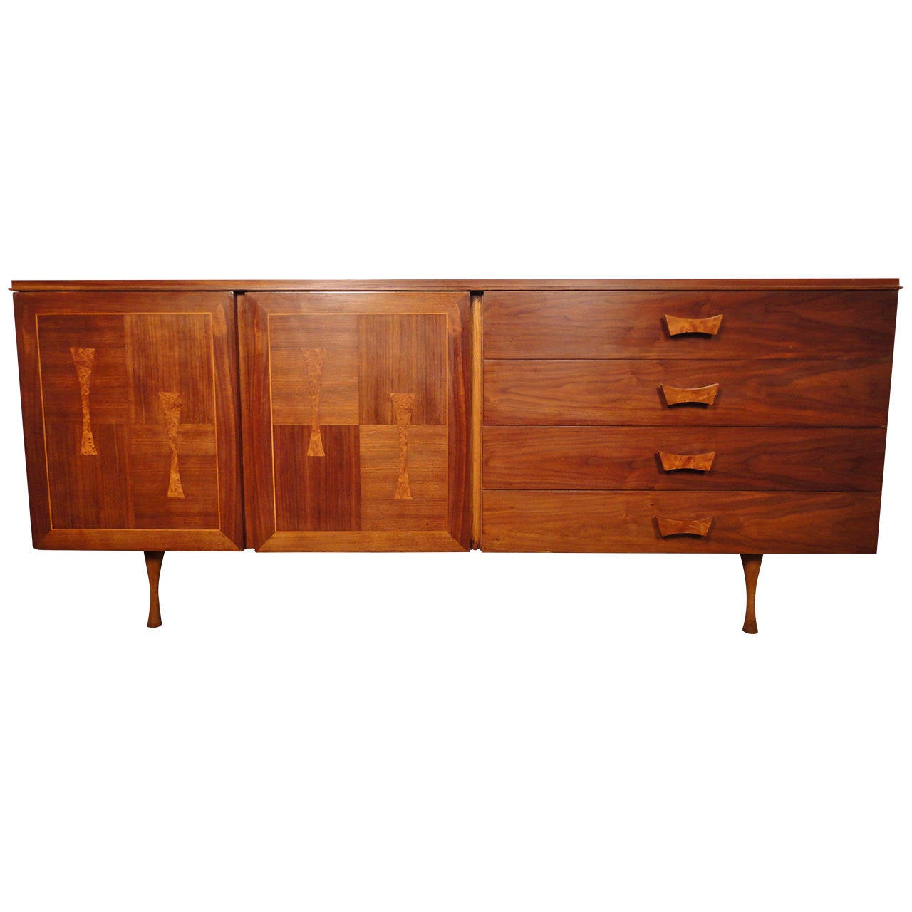 Unique Mid-Century Walnut Server with Burl Wood Inlay For Sale at ...