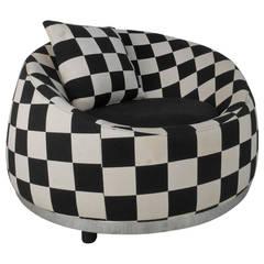 Checkered Contemporary Modern Club Chair