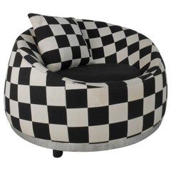 Checkered Contemporary Modern Club Chair