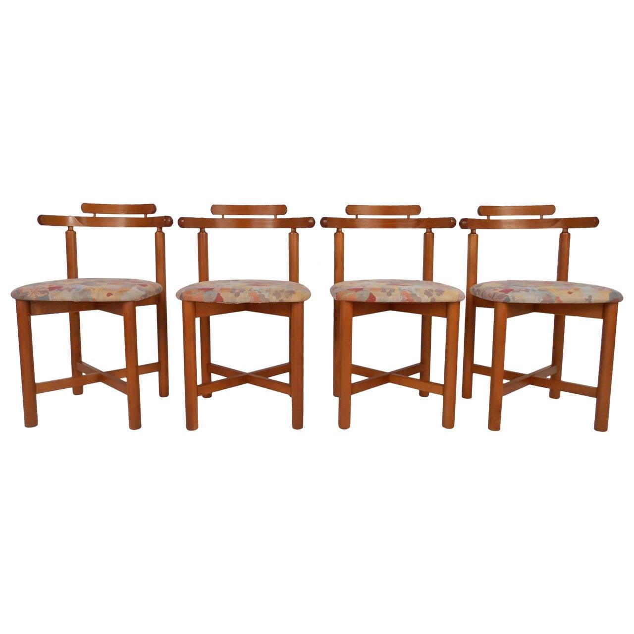 Set of mid century modern style danish teak dining chairs for Mid century modern style chairs