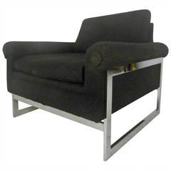 Stylish Mid-Century Modern Chrome Frame Lounge Chair