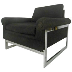Stylish Mid-Century Modern Chrome Frame Lounge Chair