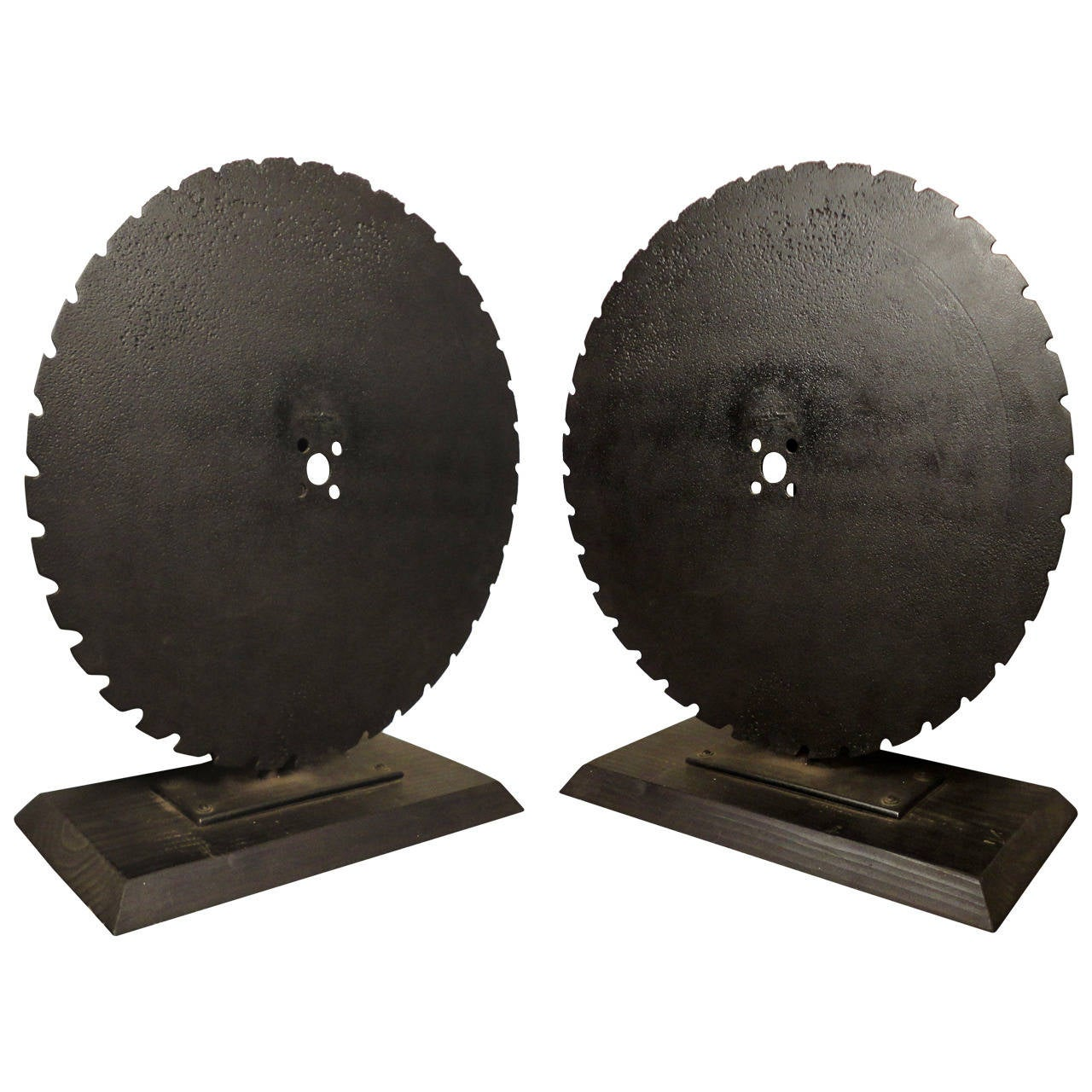 Pair Of Solid Iron Mounted Saw Wheels For Sale