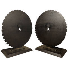 Pair Of Solid Iron Mounted Saw Wheels