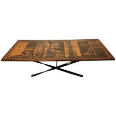 Mid-Century Modern Coffee Table With Beautiful Laminate Drawing