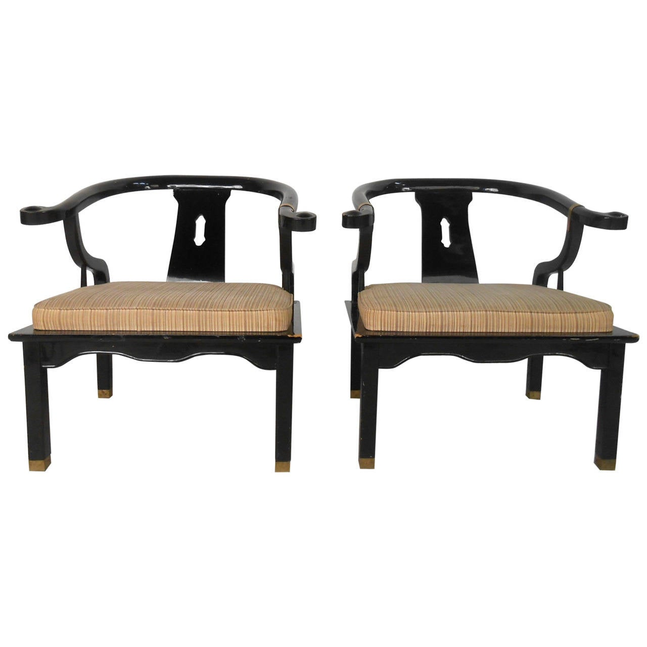 Pair Mid-Century Modern James Mont Style Black Lacquer Armchairs by Century