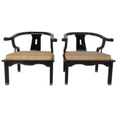 Pair of Mid-Century Modern James Mont Style Black Lacquer Armchairs by Century