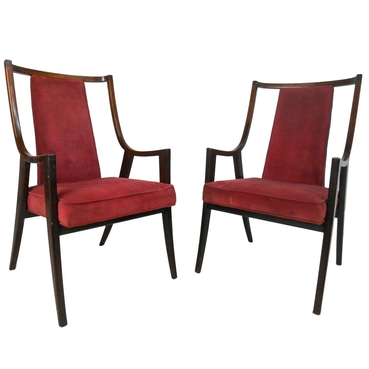 Pair mid century modern t h robsjohn gibbings style for Mid century modern armchairs