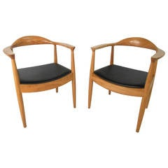"Pair of Mid-Century Modern Hans Wegner ""The Chair"" Style Armchairs"