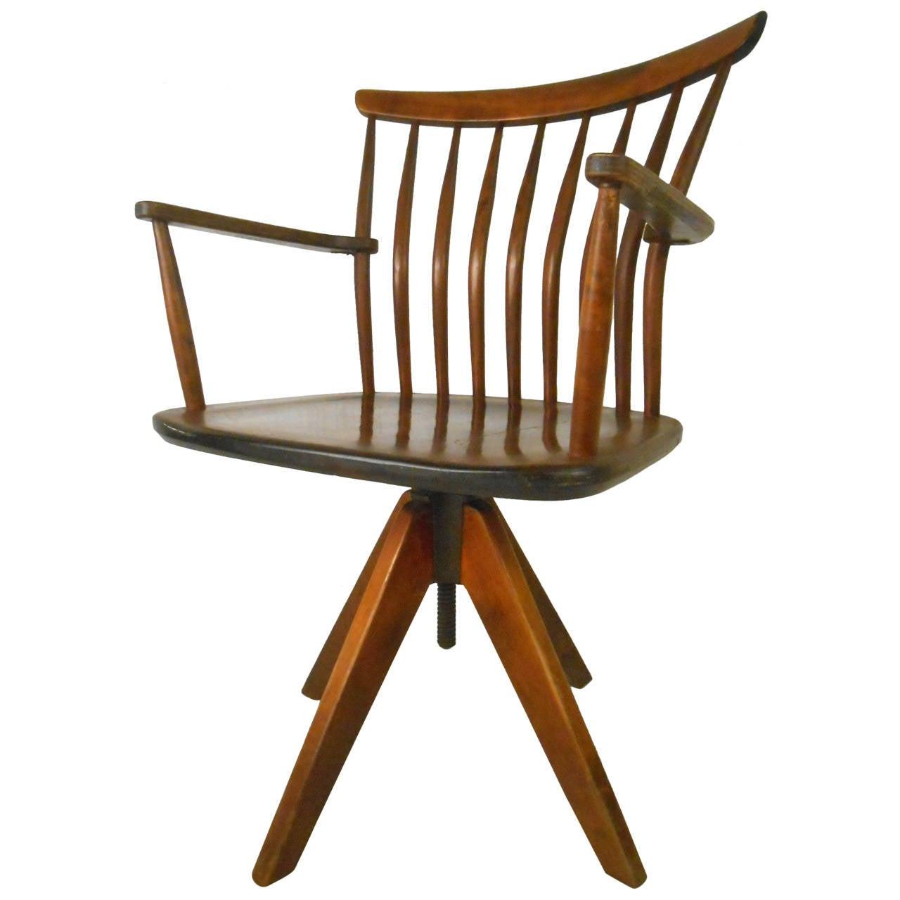 Unique Mid Century Modern Teak Spoke Back Swivel Desk Chair