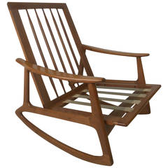 Mid-Century Modern Hardwood Rocking Chair