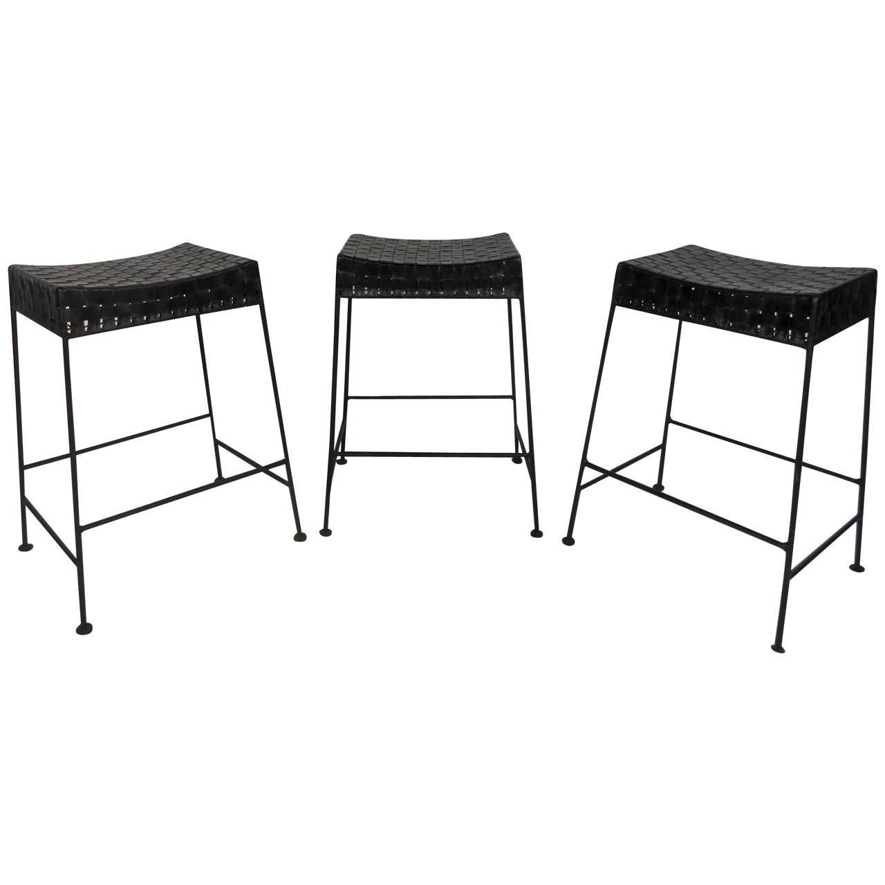 Set of Three Bar StoolsLeather Top Bar Stools