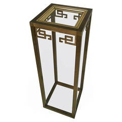 Vintage Modern Greek Key Pedestal Table by Mastercraft